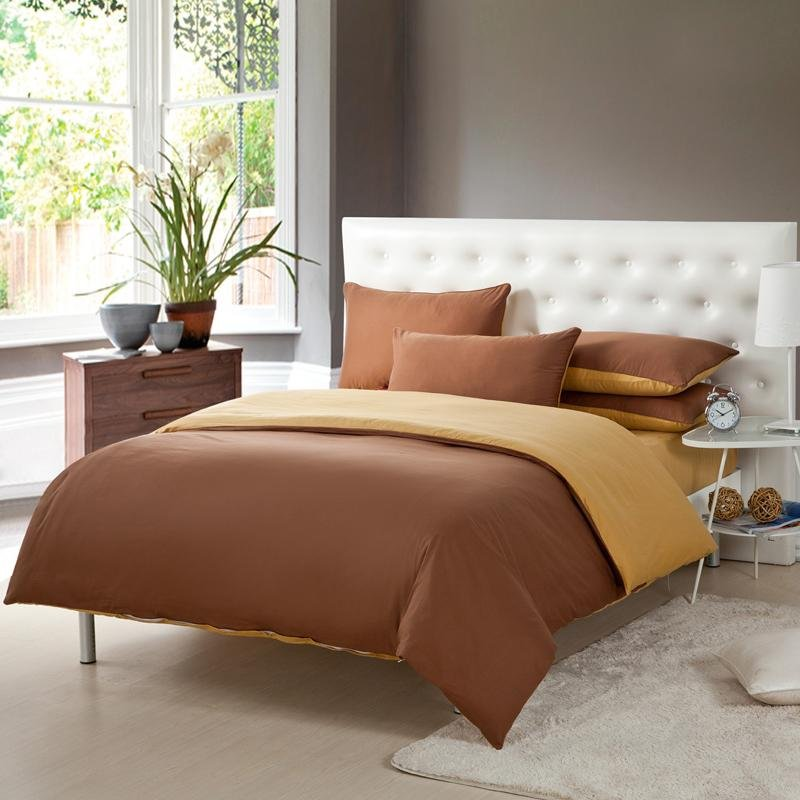 chocolate brown and gold solid pure colored simply chic full queen size luxury cotton bedding sets