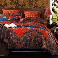 Chinese Red Purple and Peacock Blue Tribal Print Bohemian