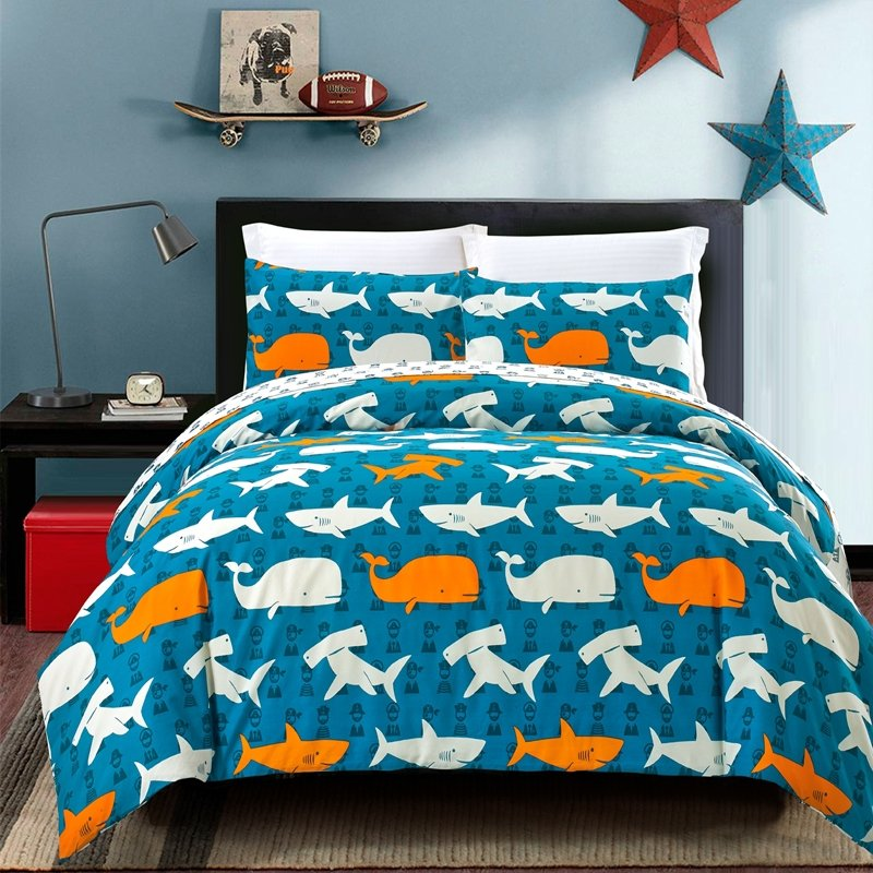 Ocean Fish Shark and Whale Print 100% Cotton Twin, Full
