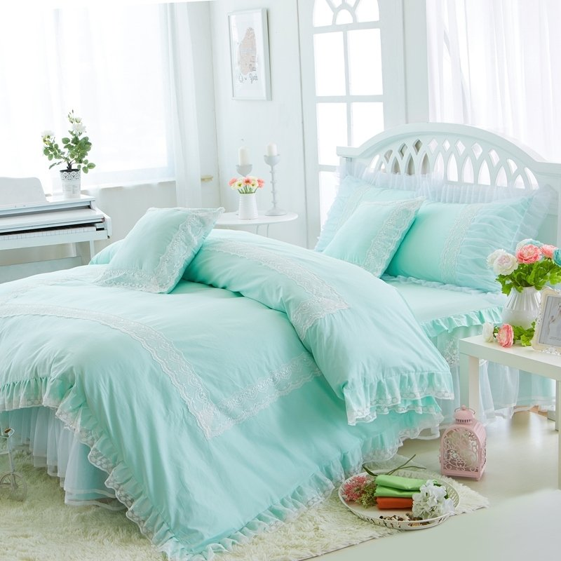 hipster mint green and white victorian lace gathered ruffle sophisticated elegant girls cotton twin full queen size bedding sets