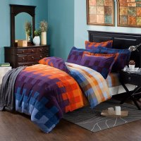 Royal Blue Purple and Orange Tartan Plaid Full, Queen Size ...