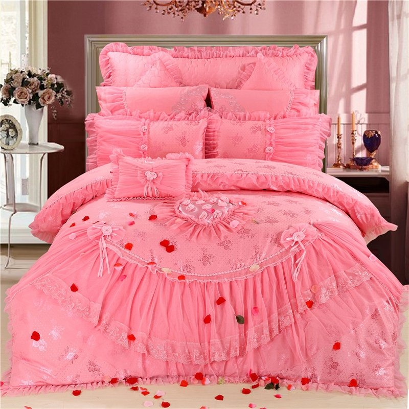 beautiful hot pink love heart pattern ruffle and lace elegant girls full queen size bedding sets