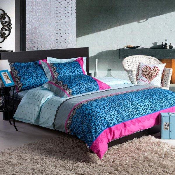 Blue Leopard Print Bedding Set