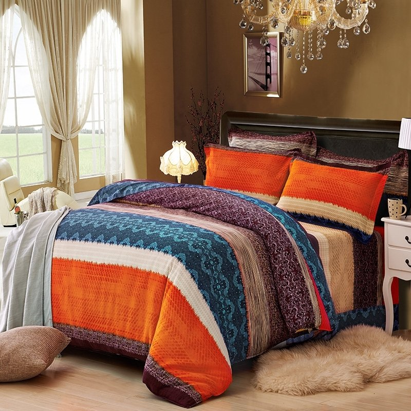 orange brown and dark teal wide stripe print shabby chic exotic western style 100 brushed cotton full queen size bedding sets