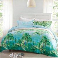 Forest Green Ocean Blue and Aqua Palm Tree Print Nautical ...