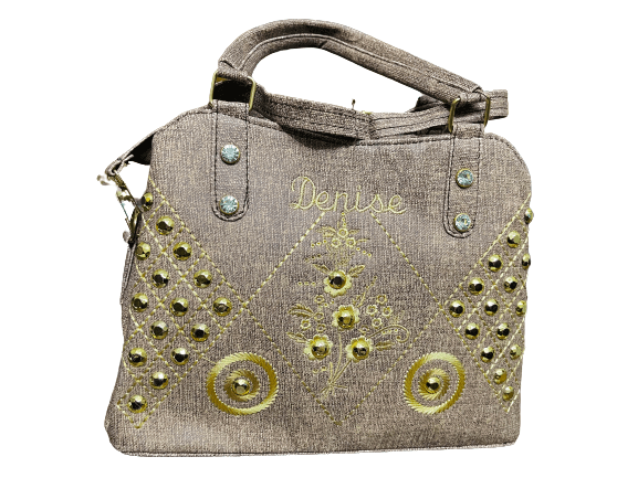 Ladies Embroidered party Bag Gold brown Color