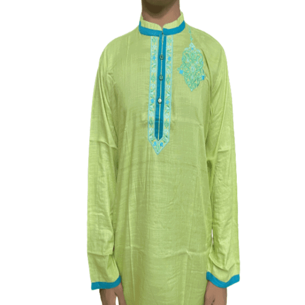 Embroidery Cotton Panjabi For Men Blue Lemon Color- semi fitted