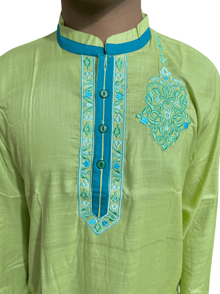 Embroidery Cotton Panjabi Blue Lemon Color- semi fitted