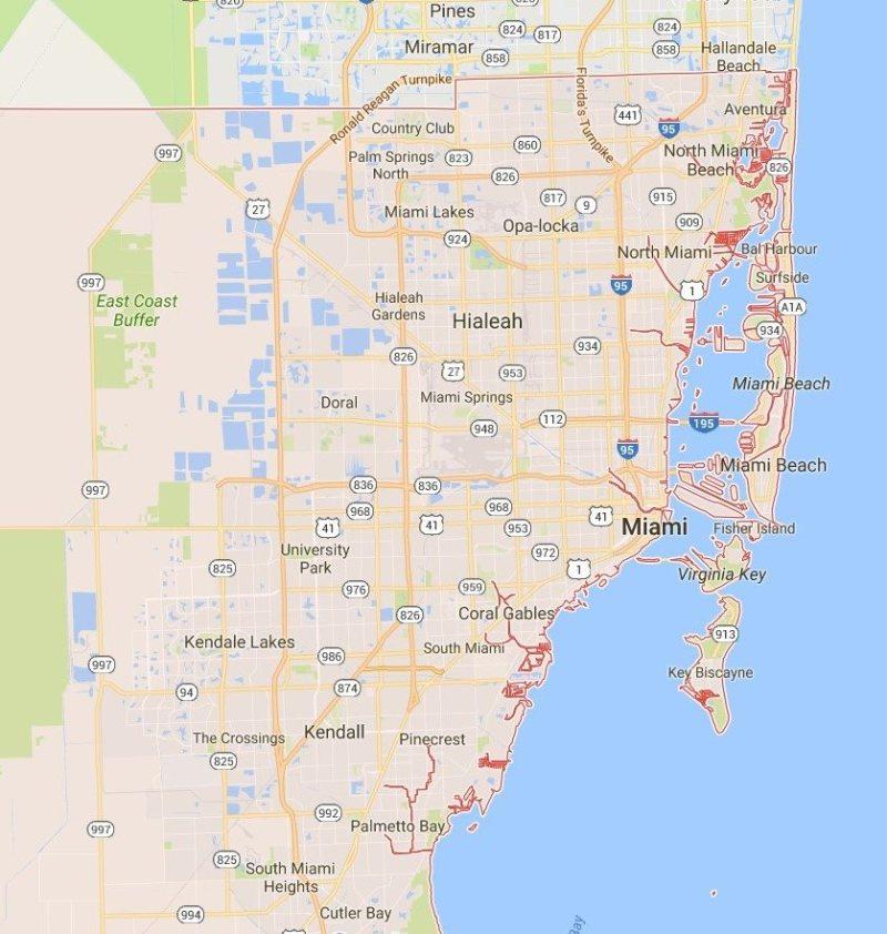 Mapa do Miami Dade County - Google Maps