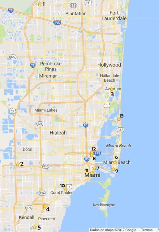 Mapa Guia de Compras em Miami