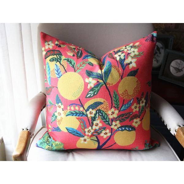 Citrus Garden pillow Yellow and Green botanical pillow