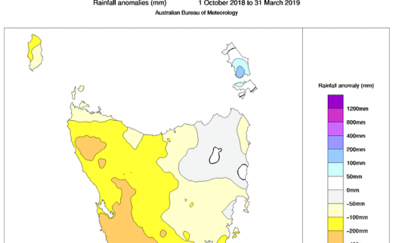 Tasmanian rainfall anomaly over six months