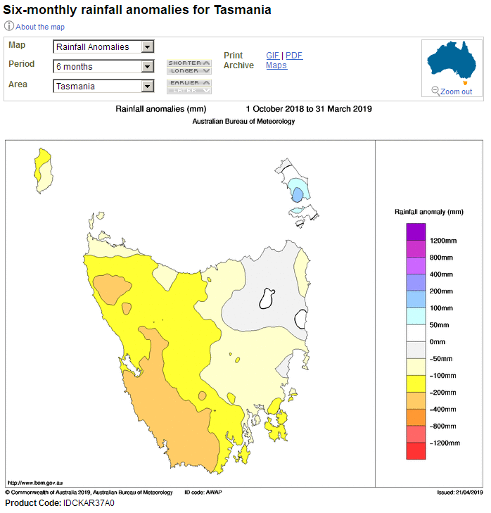 The Tasmanian rainfall anomaly over six months