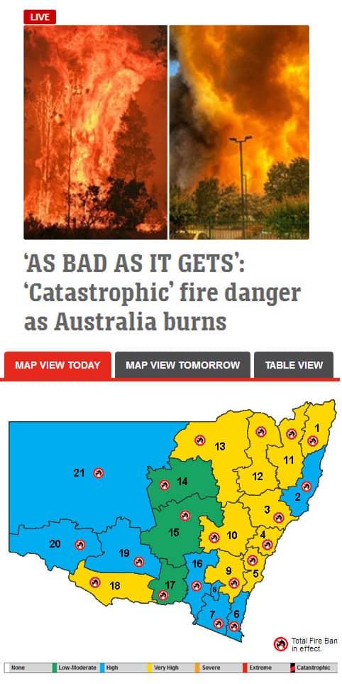 News Ltd vs NSW Rural Fire Service outlooks