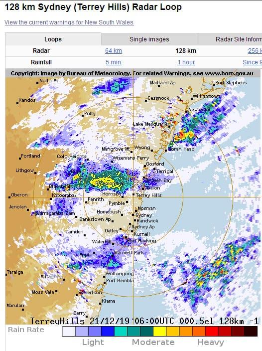 Bushfire smoke on the Sydney rain radar