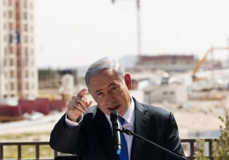Israeli Prime Minister Benjamin Netanyahu delivers statement in Har Homa