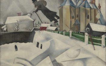 Marc Chagall, 'Over Vitebsk', 1915-20, después de una pintura de 1914, óleo sobre lienzo. (Artwork © Artists Rights Society (ARS), Nueva York / ADAGP, París; imagen proporcionada por el Museo de Arte Moderno / con licencia por SCALA / Art Resource, Nueva York)