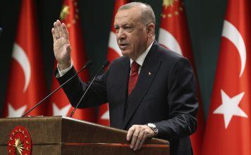 El presidente turco Recep Tayyip Erdogan durante un discurso