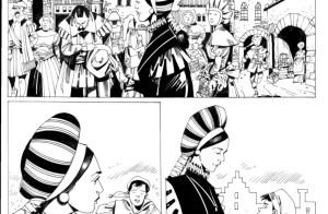 viñetas de comic en blanco y negro, con una mujer elegante vestida de epoca, a su paso otras persona la miran o hace reverencia, , abajo ella sola se encuentra con un niño