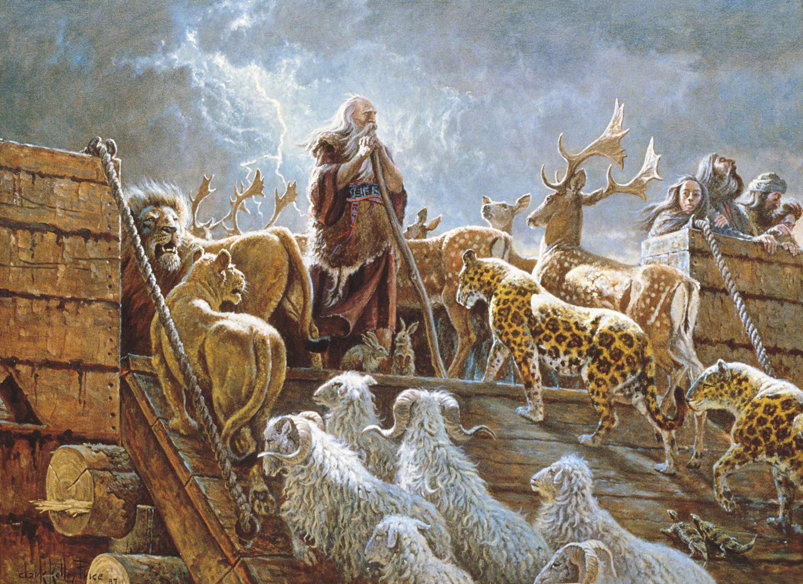 Noaj en el arca rodeado por animales