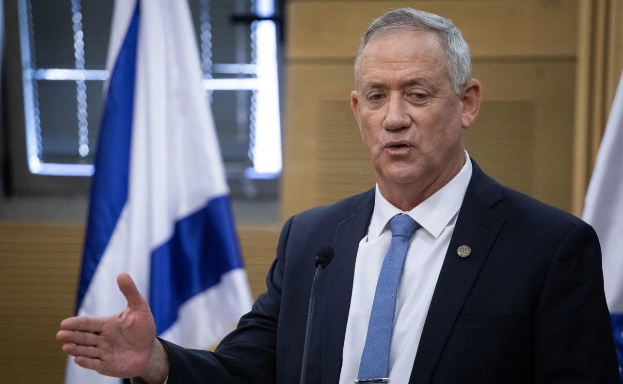 El ministro de Defensa de Israel, Benny Gantz, durante un discurso