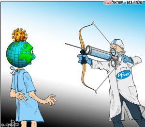 Caricatura: vacuna de Pfizer apunta a la cabeza de un mundo enfermo.