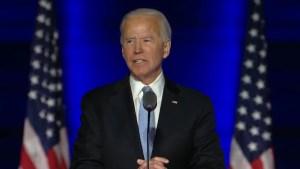 Joe Biden durante su discurso del día 7 de noviembre de 2020