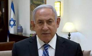 Benjamín Netanyahu, primer ministro de Israel, durante un mensaje emitido en video