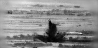 Imagen de un video que captó el momento de un ataque de Israel en Siria