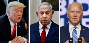 Fotografías de Donald Trump, Benjamín Netanyahu y Joe Biden