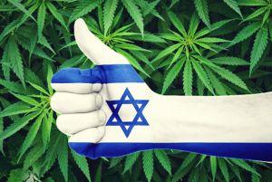 imagen de un cannabis y una mano formando la seña de like evocando la bandera de Israel