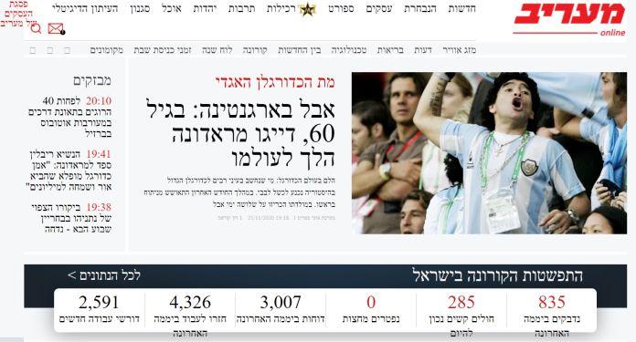 Noticia de la muerte de Maradona en un medio israelí