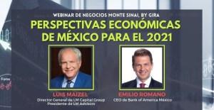 Luis Maizel y Emilio Romano, compartieron su perspectiva en el webinar Perspectivas económicas de México para el 2021
