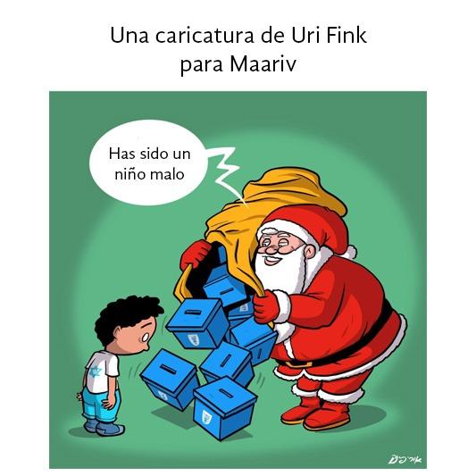 """Caricatura. Santa Claus castiga a Israel con una elecciones: """"Has sido un niño malo"""""""