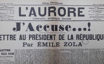 J'accuse, una carta que Émile Zola escribió al presidente de Francia en defensa de Alfred Dreyfus, un oficial judío acusado de traición por el ejército francés