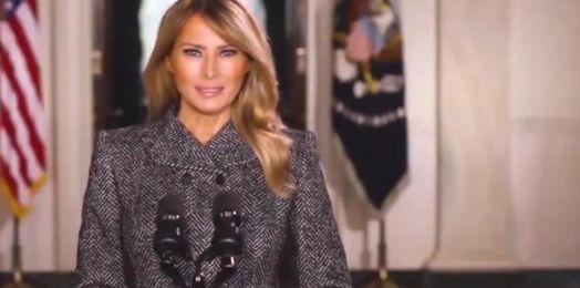 Melania Trump da mensaje de despedida y pide a los estadounidenses que 'elijan el amor'