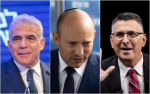 rostro de 3 líderes de partido en Israel