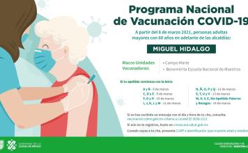 Inicia este 8 de marzo tercera etapa de vacunación a adultos mayores de 60 años residentes de las alcaldías Miguel Hidalgo y Azcapotzalco