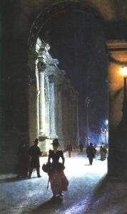 Noche en el Louvre de pintor judío Aleksander Gierymski