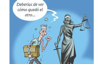 caricatura en la aparece Benny Gantz con el portafolio de Justicia