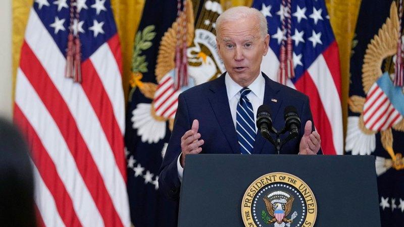 El presidente de EE. UU. Joe Biden en conferencia de prensa
