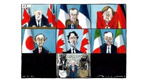 Los miembros del G7 hacen caras mientras Biden está de rodillas ante los talibanes