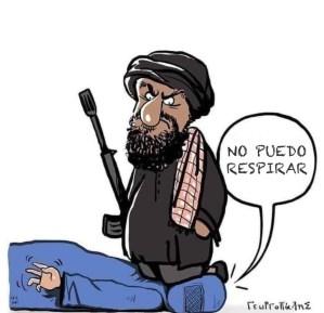 un talibán está asfixiando a una mujer con la rodilla