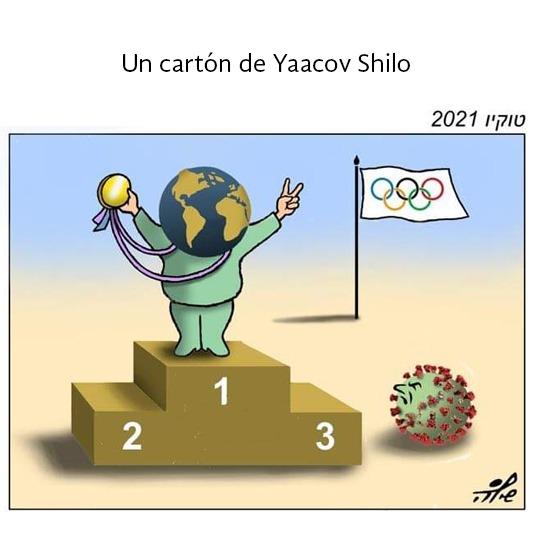 Un mundo con una medalla en un podio de los Juegos Olímpicos Tokio 2020