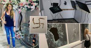 Un salón de belleza en el Reino Unido fue destrozado, cubierto con docenas de esvásticas y una lista de reglas racistas
