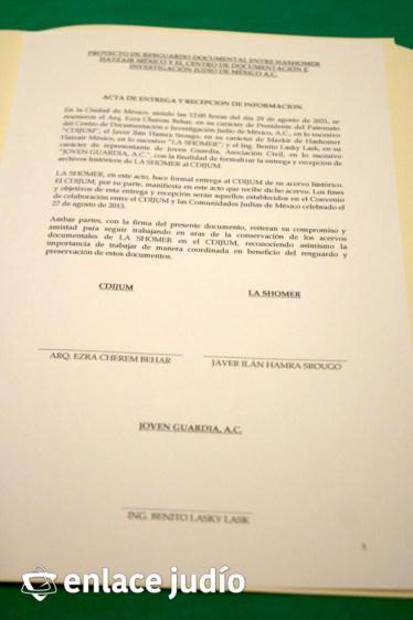 01-09-2021-ENTREGA DE ARCHIVO HISTORICO DE HASHOMER HAT ZAI MEXICO AL CDIJUM 7