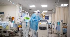 Área de COVID-19 en un hospital de Israel