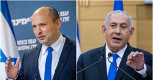 El líder de la oposición israelí, Benjamín Netanyahu frente al primer ministro Naftali Bennett