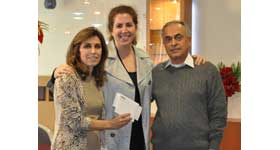 Nora Lighting team donates to Vista Del Mar; (left to right): Jilla Farzan, Linda Karchem,and Fred Farzan