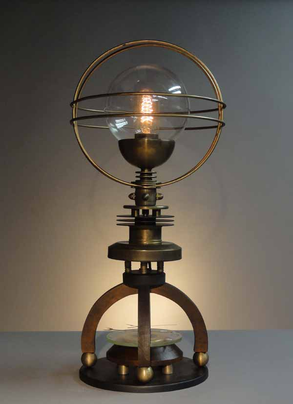 Petite Cosmo table lamp by Art Donovan, Steampunk Designer